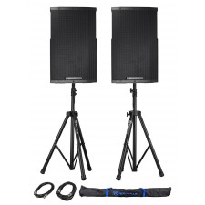 "(2) Cerwin Vega CVE-15 1000w 15"" Powered DJ PA Speakers w/ Bluetooth, DSP+Stands"