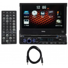 """Boss BV9965I 1-Din 7"""" In-Dash Monitor, DVD/CD AM/FM Receiver,USB,SD,iPod+Cable"""