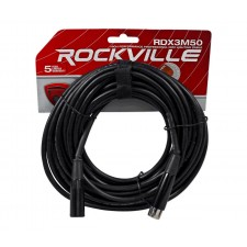 Rockville RDX3M50 50 Foot 3 Pin DMX Lighting Cable 100% OFC Copper Female 2 Male
