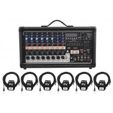 Peavey Pvi8500 400 Watt 8-Channel Powered Live Sound Mixer w/ Bluetooth + Cables