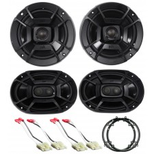 2003-2007 Honda Accord Front+Rear Polk Audio Speaker Replacement Kit+Adapters