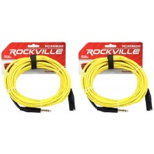 2 Rockville RCXMB20-Y Yellow 20' Male REAN XLR to 1/4'' TRS Balanced Cables