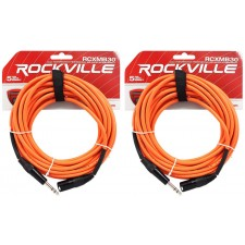 2 Rockville RCXMB30-O Orange 30' Male REAN XLR to 1/4'' TRS Balanced Cables