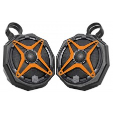 "2 6.5"" Top Crossbar Roll Cage SSV Tower Speakers for Yamaha Rhino+Orange Grills"