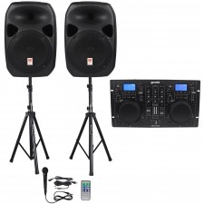 "Gemini CDM-4000 2-Ch Dual DJ Mixer+(2) 12"" Powered Speakers+Stands"