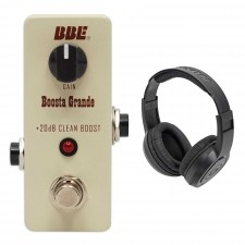 BBE Mini Boosta Grande 20db Transparent Boost Stomp Pedal+Samson Headphones