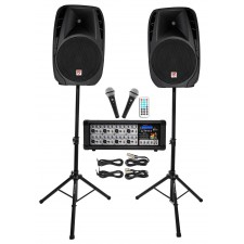 """Rockville RPG2X15 Package PA System Mixer/Amp+15"""" Speakers+Stands+Mics+Bluetooth"""