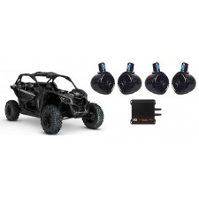 """(4) 8"""" Rollbar Roll Cage Tower Speakers for Can-Am Maverick+MTX 4-Ch. Amplifier"""