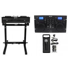 Gemini CDM-4000 2 Ch. Dual DJ Mixer Media Player w/ MP3/CD/USB+Stand+Mic+Cable