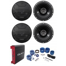 "(4) Hifonics ZS653 6.5"" 600 Watt Car Stereo Speakers+4-Channel Amplifier+Amp Kit"