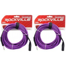 2 Rockville RCXMB30-P Purple 30' Male REAN XLR to 1/4'' TRS Balanced Cables