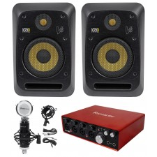 "(2) KRK V6S4-NA 6"" Powered Studio Monitors+Recording Interface+Studio Microphone"