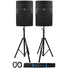 """(2) Peavey PVx15 15"""" 1600-Watt PA Speakers+2) Stands+2) Cables+Carry Case"""