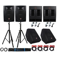 """Rockville PA System w/ 15"""" Speakers+18"""" Subwoofers+15"""" Monitors+Stands+Cables"""
