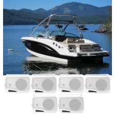 "(6) Rockville HP4S-8 4"" Marine Box Speakers with Swivel Bracket For Boats"