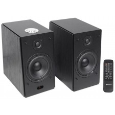 "(2) Rockville HD5B 5"" 150w RMS Powered Bluetooth Bookshelf Home Theater Speakers"