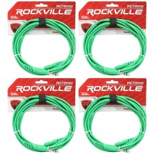 4 Rockville RCTR110G Green 10' 1/4'' TRS to 1/4'' TRS  Cable 100% Copper