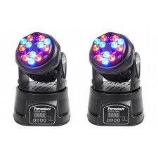 (2) FARENHEIT FH318MH Compact RGB DMX Moving Heads Beam Club Stage Party Lights