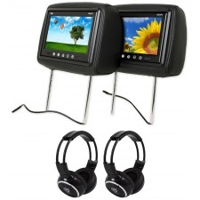 "Pair Of TView T921PL 9"" Black Headrest Car Video Monitors + 2 Wireless Headsets"