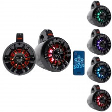 "(2) Boss MRWT40RGB 4"" 400w LED Tower Speakers For Polaris RZR/ATV/UTV/Cart/Jeep"