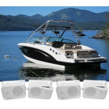 "(4) Rockville HP4S 4"" Marine Box Speakers with Swivel Bracket For Boats"