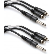 "2 Hosa CYR-101 1/4"" TS To Dual RCA Y Cables 1 Meter"