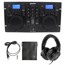 Gemini CDM-4000 2 Ch. Dual DJ Mixer Media Player MP3/CD/USB+Mackie Headphones