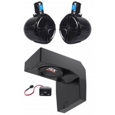 "10"" Powered Under-Seat MTX Subwoofer+Tower Speakers for 2014-2017 Polaris Ranger"