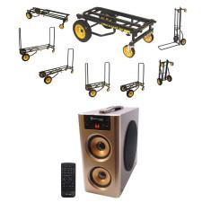 RocknRoller R10RT R10 500lb Capacity DJ PA Equipment Transport Cart + Speaker