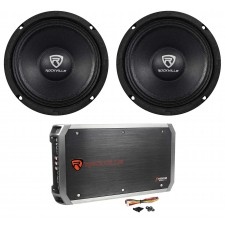"(2) Rockville RM64PRO 6.5"" Mid-Bass Midrange Car Speakers+4-Channel Amplifier"
