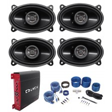 "(4) Hifonics ZS46CX 4x6"" 800 Watt Car Audio Speakers+4-Channel Amplifier+Amp Kit"