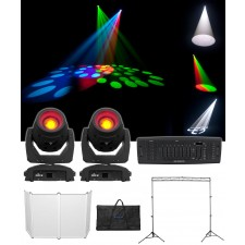 2 Chauvet DJ Intimidator Beam 355 IRC Moving Head Lights+Controller+Facade+Truss