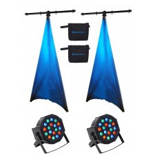 (2) Rockville Lighting Tree Stands+(2) White Scrims+(2) Par Can RGB Wash Lights