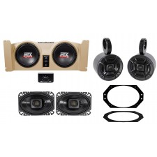 """1997-2006 Jeep Wrangler TJ (2) 10"""" Subwoofers+Amp+Tan Box+Front+Rollbar Speakers"""