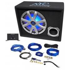 "NYC Acoustics NSE10L 10"" 1000w Powered Car Subwoofer/LED Sub Enclosure+Wire Kit"
