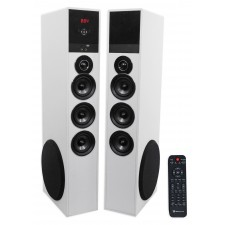 "Rockville TM150W White Powered Home Theater Tower Speakers 10"" Sub/Blueooth/USB"