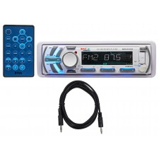 Boss MR1440U White 1-Din Detachable Marine Receiver w. AUX/MP3 FM/AM Radio+Cable