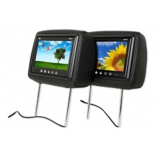 "Pair Of TView T921PL Universal 9"" Black Headrest Car Video Monitors + 2 Remotes"