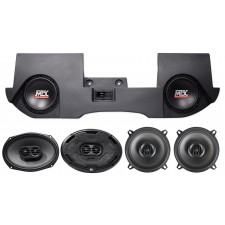"2002-2016 Dodge Ram Quad/Crew Cab Dual 10"" MTX Subwoofers+Box+(4) MTX Speakers"