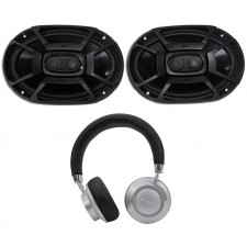 "2) Polk Audio DB692 6X9"" 450w Car Marine/ATV/Motorcycle/Boat Speakers+Headphones"