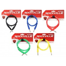5 Rockville 3' 1/4'' TRS to 1/4'' TRS  Cable 100% Copper (5 Colors)