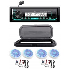 """Hot Tub Audio System w/ JVC Stereo Bluetooth Receiver+4) 6.5""""White LED Speakers"""