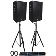 "(2) Rockville RSG15 15"" 3-Way 1500 Watt 8-Ohm DJ PA Speaker +Stands +Cables"