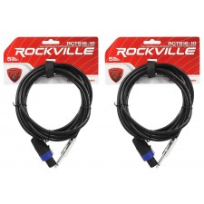 "2 Rockville RCTS1610 10' 16 AWG 1/4"" TS to Speakon Pro Speaker Cable 100% Copper"