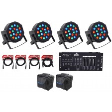 (4) FARENHEIT FHB-118 LED RGB DMX LED PAR Can Wash Lights+Controller+Cables+Bag