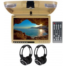 "TView T137ADV 13"" Beige Car DVD Receiver USB SD+Dome Light+Wireless Headphones"