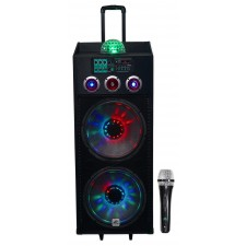 "NYC Acoustics N215B Dual 15"" 800w Home Theater LED Party Speaker w/Bluetooth+Mic"