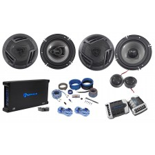 "Rockville RV65.2C 6.5"" Component+Coaxial Car Speakers + 5-Ch Amplifier + Amp Kit"