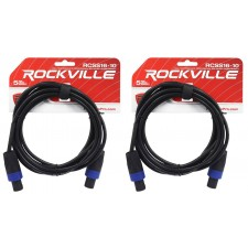 2 Rockville RCSS1610 10' 16 AWG 100% Copper Speakon to Speakon Pro Speaker Cable