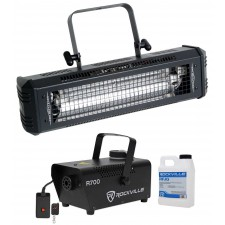 American DJ Mega Flash DMX 800W DMX Strobe Light w/ Sound Sensor + Fog Machine